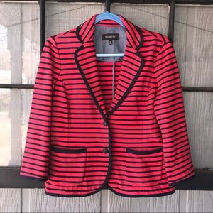 Talbots cotton knit jacket, red with navy stripes